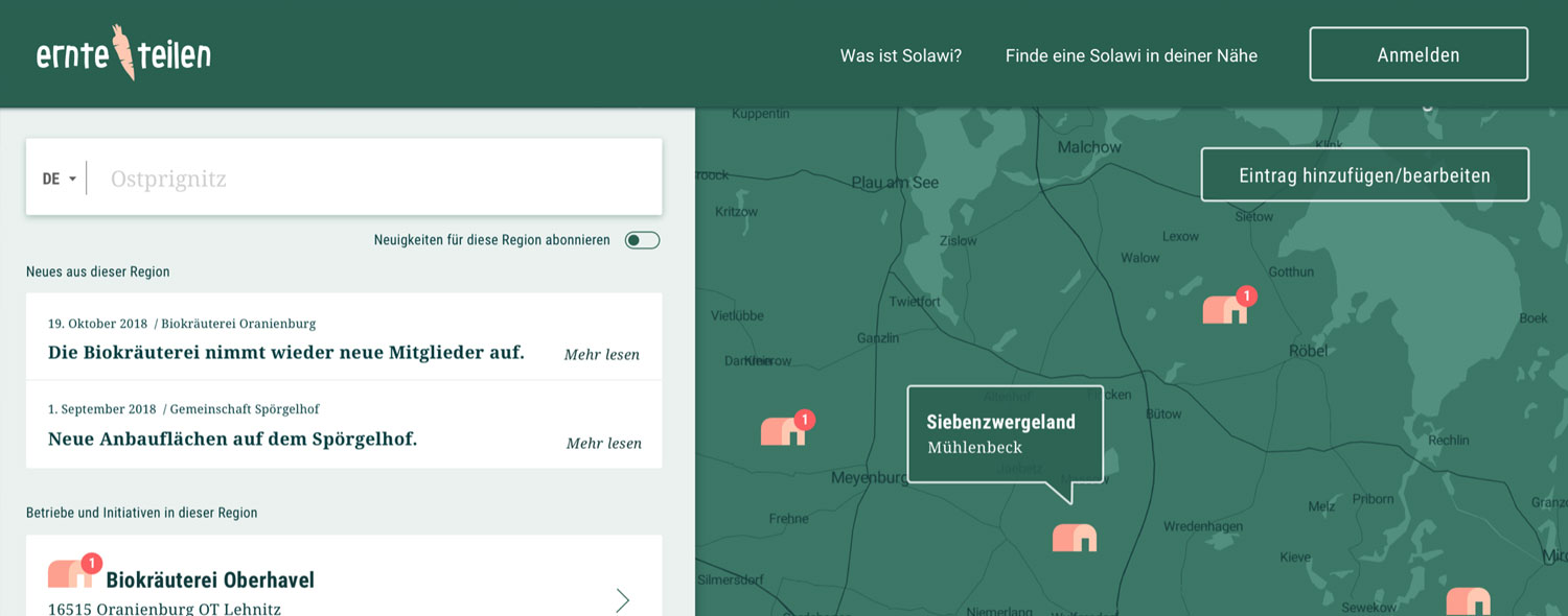 Screenshot from ernte-teilen.org showing a map with farms and food hubs